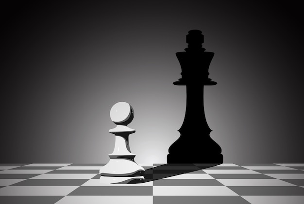 チェス盤のイラスト。リーダーシップの概念