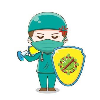 방패와 절연 주입을 들고 수술 양복을 입고 꼬마 의사의 그림