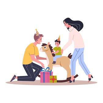 Иллюстрация вечеринки по случаю дня рождения ребенка. родители поздравляют своего малыша. счастливая семья празднует день рождения.