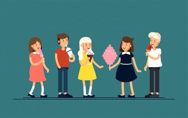幸せを感じて、アイスクリーム、ミルクセーキ、綿あめのようなお菓子を食べる子供たちのイラスト。休日休暇の子供たち。子供時代。