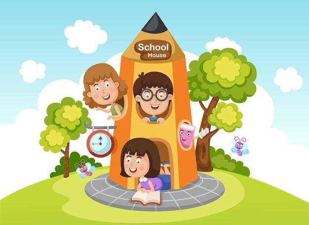 鉛筆の家で遊んでいる子供たちのイラスト