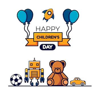 Иллюстрация празднования детского дня, красочные иллюстрации, для цифрового использования