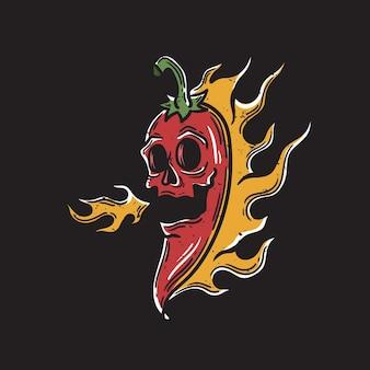 黒の背景に口から火を吐く頭蓋骨の顔と唐辛子のイラスト