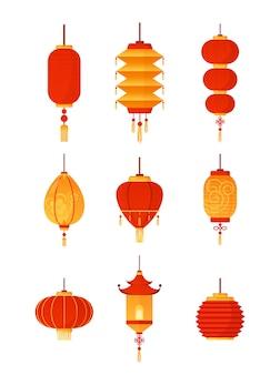 중국어 등불의 그림 설정 전통적인 붉은 등불 컬렉션