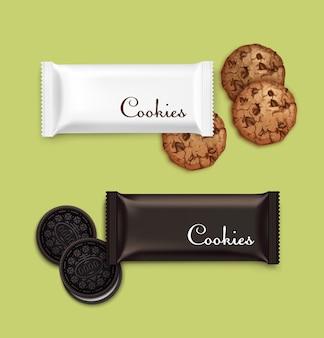 Иллюстрация шоколадного печенья с кремовой начинкой на белом фоне