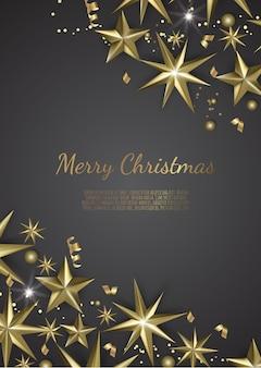 クリスマスゴールド星スノーフレークと金色の紙吹雪とクリスマスの背景のイラスト、