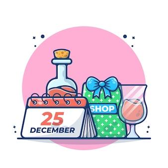 ドリンクを飲みながらクリスマスカレンダーのイラスト