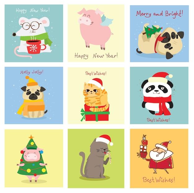 Иллюстрация рождественских кошек, свиней, крыс и собак с рождественскими и новогодними поздравлениями. симпатичные домашние животные с праздничными шляпами и подарками.