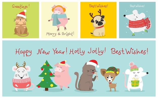 크리스마스 고양이, 돼지, 쥐 및 개 크리스마스와 새 해 인사와 함께 그림. 휴일 모자와 선물을 가진 귀여운 애완 동물.