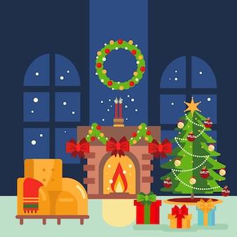 クリスマス暖炉シーンのイラスト