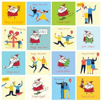 Иллюстрация рождественских людей и санта-клауса с рождественскими и новогодними поздравлениями в плоском стиле