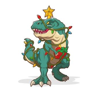크리스마스 소나무 공룡 벡터 디자인의 그림