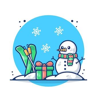 Иллюстрация рождественский снеговик с подарочной коробкой