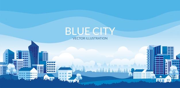 青い色をテーマにした都市景観のイラスト。