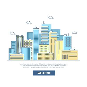 도시 스카이 라인 배경 그림입니다. 평면 선형 스타일의 건축 건물, 고층 빌딩, 환영 글자 및 텍스트 장소가있는 여행 포스터.