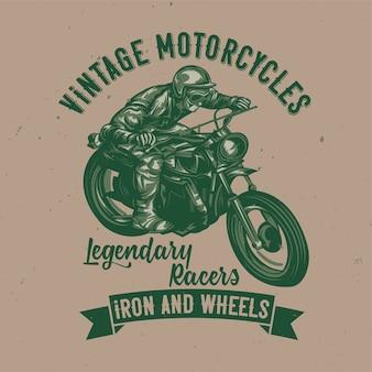 オートバイの古典的な男のイラスト