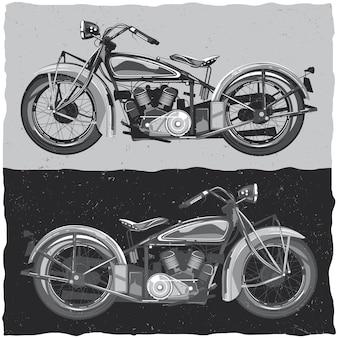 白と黒のクラシックバイクのイラスト
