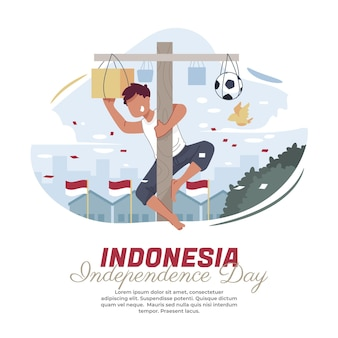 インドネシアの独立記念日にビンロウジュの実を登るイラスト