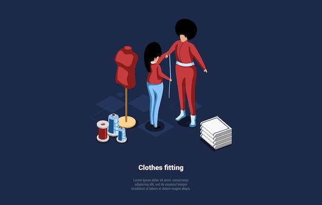 옷 피팅 개념의 그림입니다. 만화 3d 스타일의 아이소 메트릭 구성.