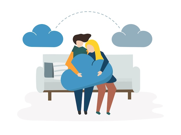 Иллюстрация облачной сети и совместного использования