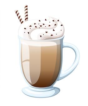 クリーミーな泡で熱いラテドリンクのカクテルアイリッシュコーヒーのマグカップ、酒と層状カプチーノコーヒーのカクテル、茶色のタイトルのロゴ-アイリッシュコーヒー、エスプレッソのガラスのカップ。