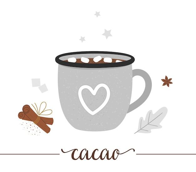 白い背景で隔離のエナメルカップのココアのイラスト。冬の伝統的な飲み物。マシュマロ、砂糖、アニス、シナモンを含むホリデーホットドリンク。