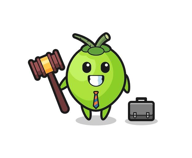 변호사로서의 코코넛 마스코트의 그림, 티셔츠, 스티커, 로고 요소를 위한 귀여운 스타일 디자인