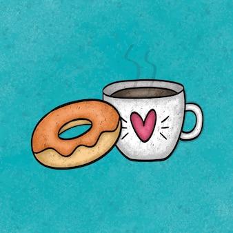 コーヒーとデザートのイラスト