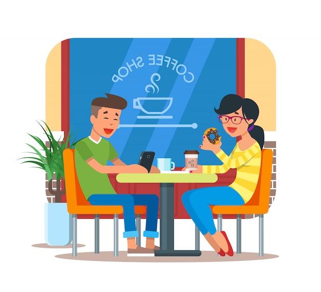 訪問者とコーヒーショップデザイン要素のイラスト
