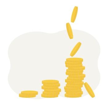 확대와 함께 동전의 그림입니다. 이익 및 소득 개념