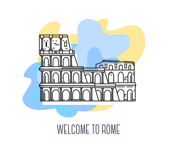 Иллюстрация колизея римская достопримечательность символ италии достопримечательности европы