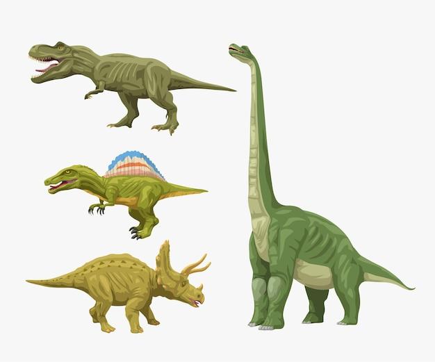 흰색 배경에 고립 된 다른 공룡의 컬러 작은 세트의 그림