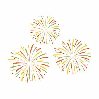白い背景に分離されたカラフルな花火のイラスト。