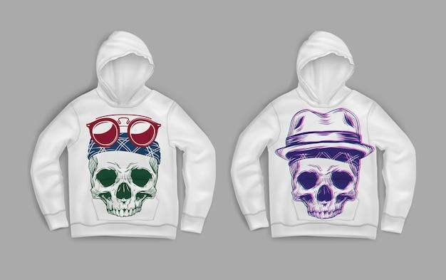 후드가 달린 흰색 스웨터에 인쇄 된 다채로운 두개골의 그림