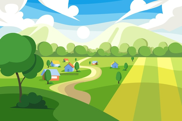 カラフルな田園風景のイラスト