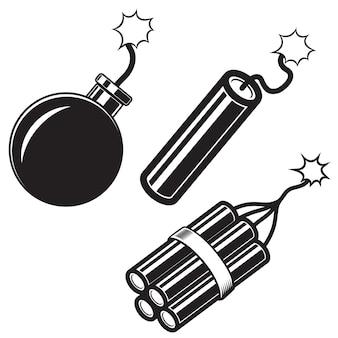 만화 스타일 폭탄의 그림, 다이너마이트 스틱. 포스터, 카드, 배너, 전단지 요소. 영상
