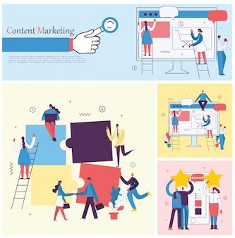 평면 디자인의 모바일 광고 및 콘텐츠 마케팅의 개념의 삽화