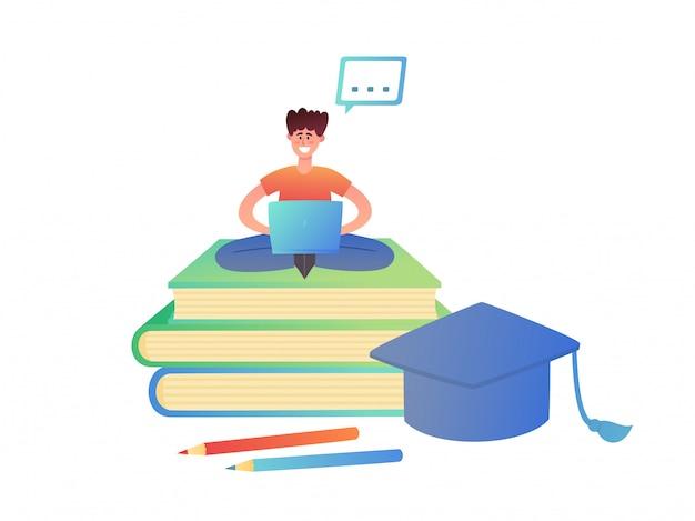白で隔離概念オンライン教育のイラスト。大きな本とトレンディなネオンスタイルの正方形の学術キャップの上に座ってラップトップを持つ小さな男がポスター、ウェブサイト、パンフレットに使用します。