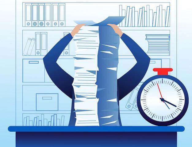 Иллюстрация запутать и занят бизнесмен с большим количеством работы, много документов на столе. стресс-ситуация бизнес-концепция в плоском мультяшном стиле.