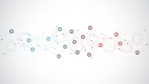 Иллюстрация подключения людей и концепции коммуникации, социальной сети.