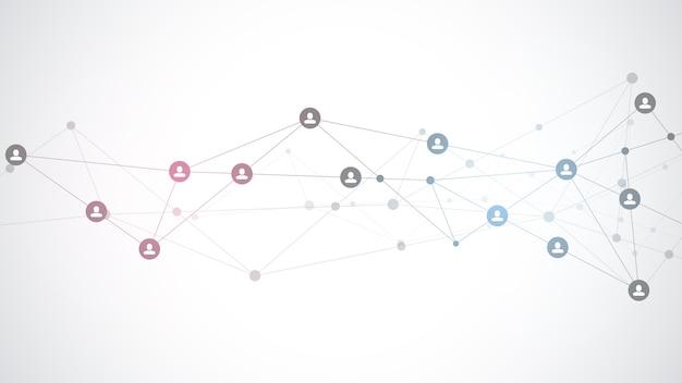 사람과 통신 개념, 소셜 네트워크를 연결하는 그림.