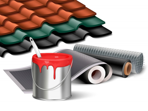 Иллюстрация элементов строительных работ, ведро с красной краской, рулоны обоев и кусочки черепичной крышей в разных цветах.