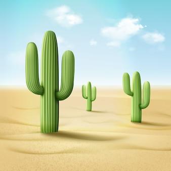Иллюстрация кордона кактуса или pachycereus pringlei в пустынном пейзаже