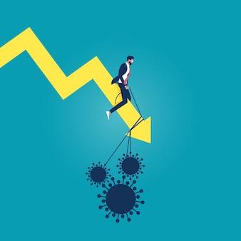 Иллюстрация глобального экономического воздействия коронавируса или вируса covid-19