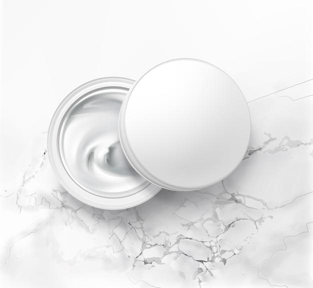 衛生的なクリームと化粧品の瓶のイラスト、白い大理石の背景の上面図