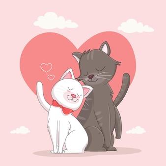 Иллюстрация влюбленной кошки купе