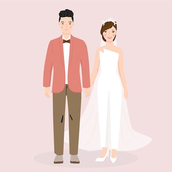 結婚式の新郎新婦のカップルのイラスト