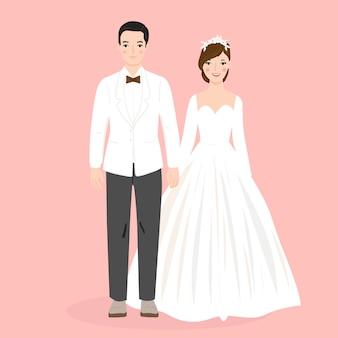 결혼식을 위해 몇 신부와 신랑의 그림