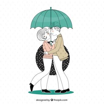 Иллюстрация пара в любви под зонтиком