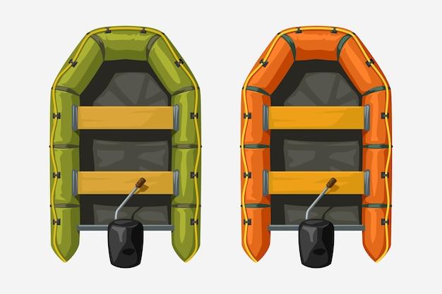 Иллюстрация пары надувных лодок разного цвета, вид сверху, изолированные на белом фоне